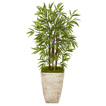 53 Bamboo Artificial Tree in Country White Planter - SKU #T1095