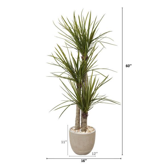 5 Yucca Artificial Tree in Sandstone Planter - SKU #T1098 - 1