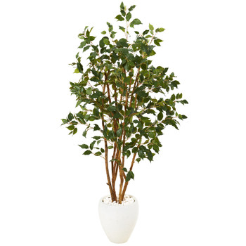 53 Ficus Artificial Tree in White Planter - SKU #T1101