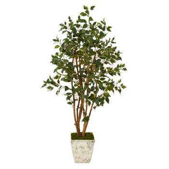 53 Ficus Artificial Tree in Country White Planter - SKU #T1102