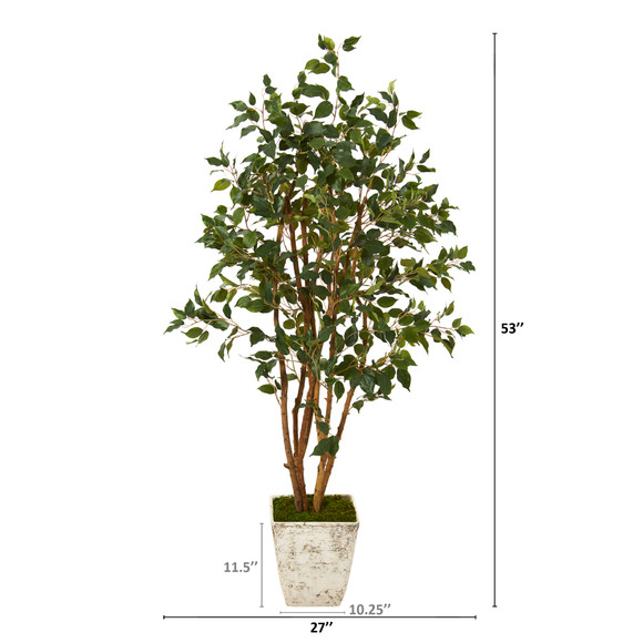 53 Ficus Artificial Tree in Country White Planter - SKU #T1102 - 1