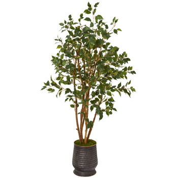 4.5 Ficus Artificial Tree in Ribbed Metal Planter - SKU #T1104