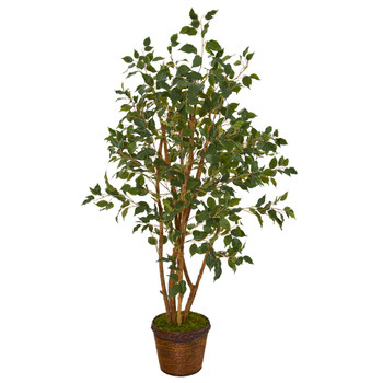 51 Ficus Artificial Tree in Coiled Rope Planter - SKU #T1105