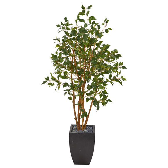 58 Ficus Artificial Tree in Black Planter - SKU #T1106