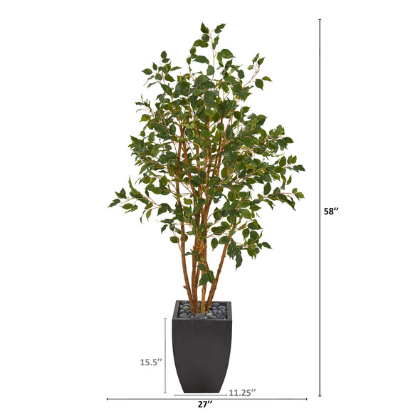 58 Ficus Artificial Tree in Black Planter - SKU #T1106 - 1