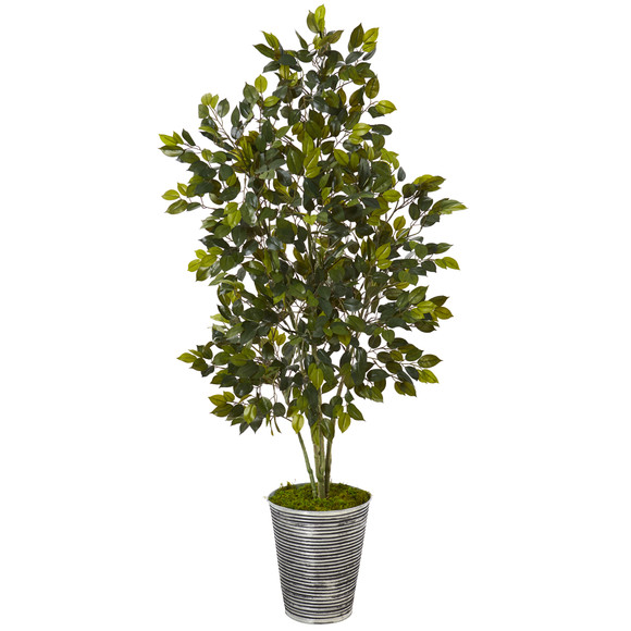 4.5 Ficus Artificial Tree in Decorative Tin Planter - SKU #T1109