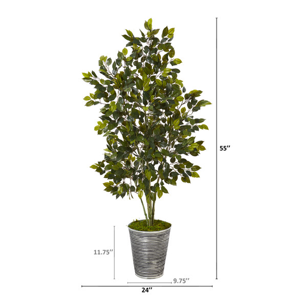 4.5 Ficus Artificial Tree in Decorative Tin Planter - SKU #T1109 - 1