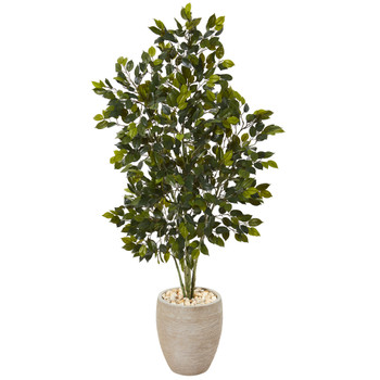 53 Ficus Artificial Tree in Sand Colored Planter - SKU #T1110