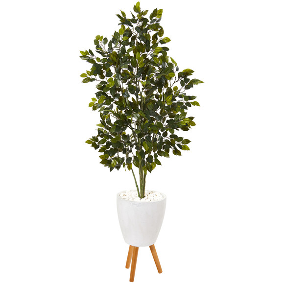 5 Ficus Artificial Tree in White Planter with Stand - SKU #T1112