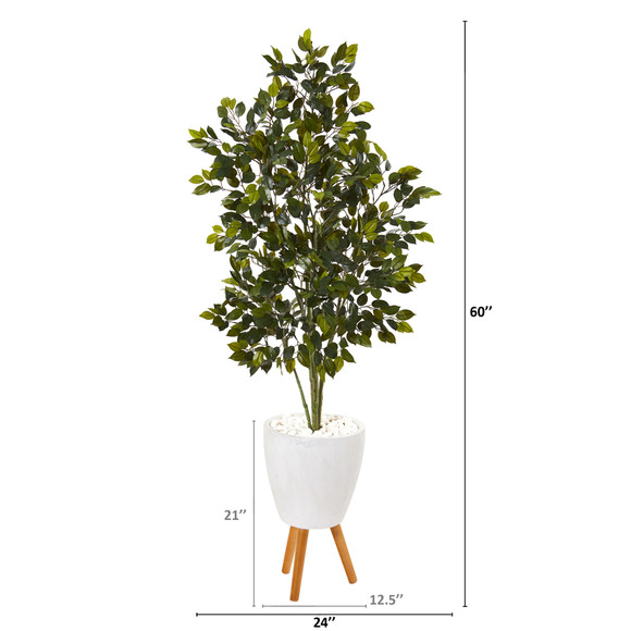 5 Ficus Artificial Tree in White Planter with Stand - SKU #T1112 - 1