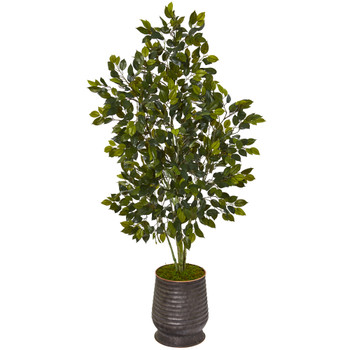 52 Ficus Artificial Tree in Ribbed Metal Planter - SKU #T1113