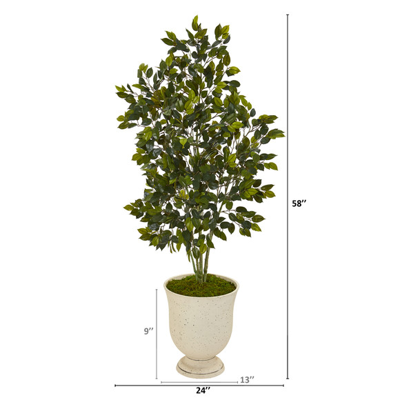 58 Ficus Artificial Tree in Decorative Urn - SKU #T1114 - 1