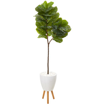 69 Fiddle Leaf Artificial Tree in White Planter with Stand - SKU #T1115