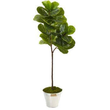 5 Fiddle Leaf Artificial Tree in Tin Bucket - SKU #T1116