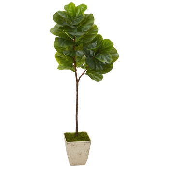 62 Fiddle Leaf Artificial Tree in Country White Planter - SKU #T1117