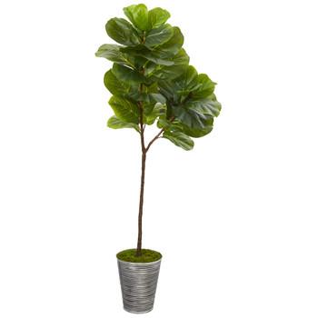 5 Fiddle Leaf Artificial Tree in Decorative Tin Planter - SKU #T1118