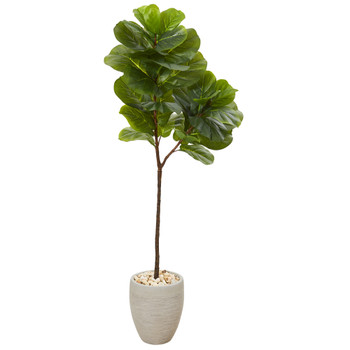 5 Fiddle Leaf Artificial Tree in Sand Colored Planter - SKU #T1119