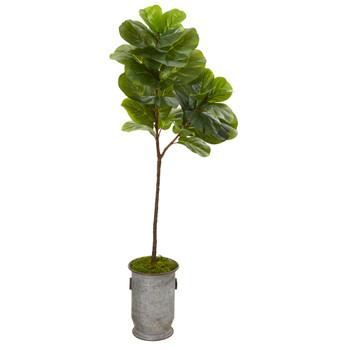 64 Fiddle Leaf Artificial Tree in Vintage Metal Planter - SKU #T1120