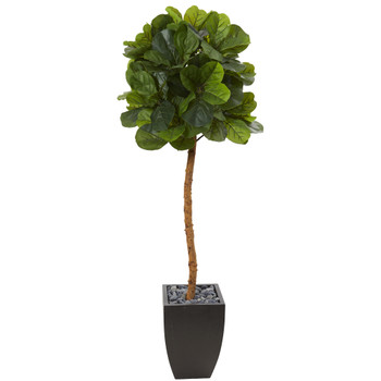 64 Fiddle Leaf Artificial Tree in Black Planter Real Touch - SKU #T1121