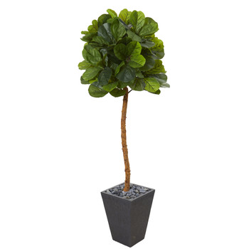 5.5 Fiddle Leaf Artificial Tree in Slate Planter Real Touch - SKU #T1122