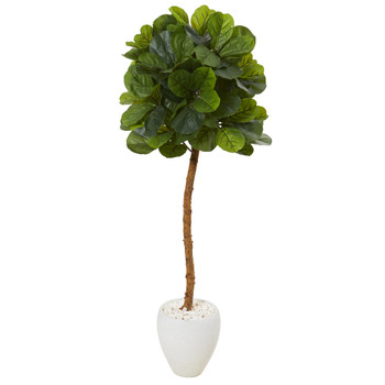 5 Fiddle Leaf Artificial Tree in White Planter Real Touch - SKU #T1123