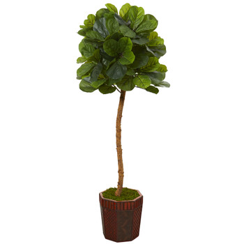 64 Fiddle Leaf Artificial Tree in Decorative Planter Real Touch - SKU #T1124