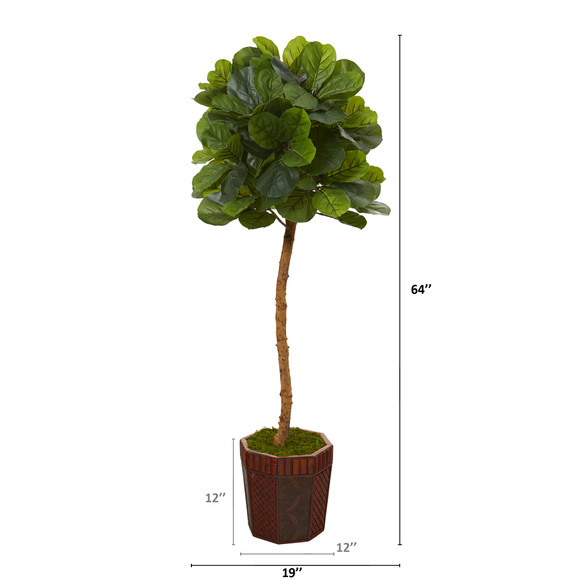 64 Fiddle Leaf Artificial Tree in Decorative Planter Real Touch - SKU #T1124 - 1