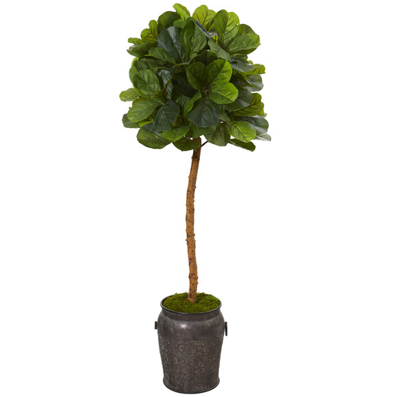 5 Fiddle Leaf Artificial Tree in Metal Planter Real Touch - SKU #T1125
