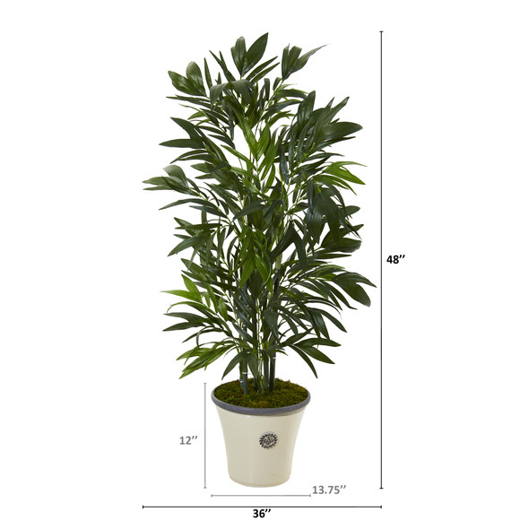 4 Bamboo Palm Artificial Tree in Decorative Planter - SKU #T1127 - 1