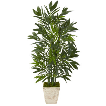 45 Bamboo Palm Artificial Tree in Country White Planter - SKU #T1129