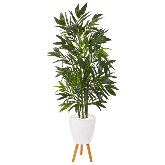 53 Bamboo Palm Artificial Tree in White Planter with Stand - SKU #T1130