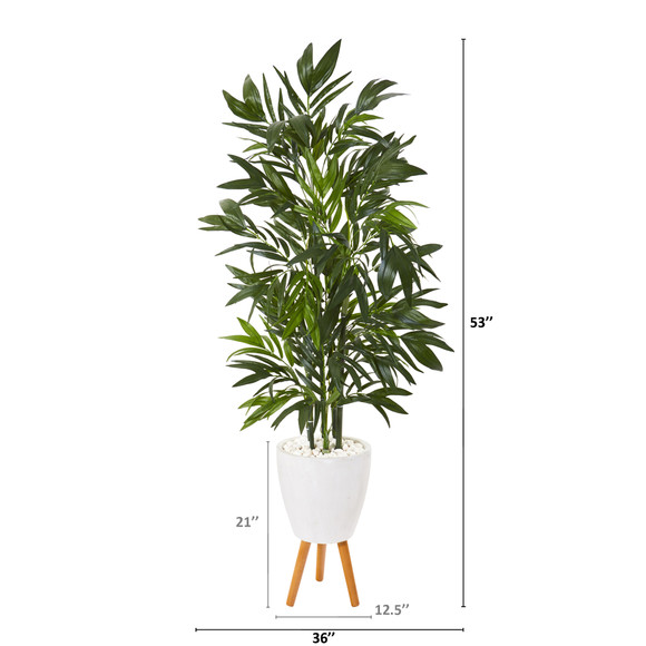 53 Bamboo Palm Artificial Tree in White Planter with Stand - SKU #T1130 - 1