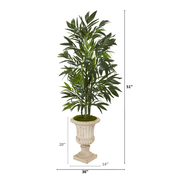 51 Bamboo Palm Artificial Tree in Sand Finished Urn - SKU #T1131 - 1