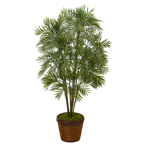 46 Parlor Palm Artificial Tree in Coiled Rope Planter - SKU #T1132