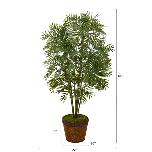 46 Parlor Palm Artificial Tree in Coiled Rope Planter - SKU #T1132 - 1