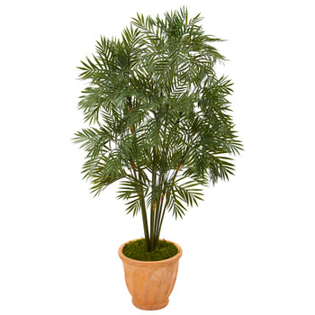 4 Parlor Palm Artificial Tree in Terra-Cotta Planter - SKU #T1133