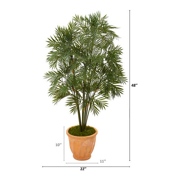 4 Parlor Palm Artificial Tree in Terra-Cotta Planter - SKU #T1133 - 1