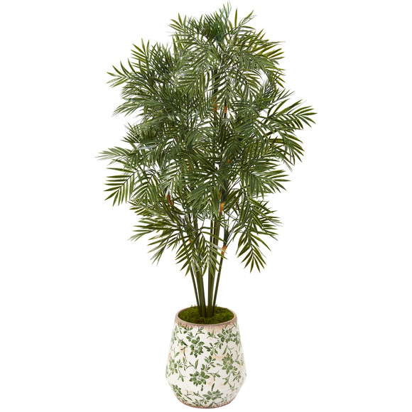 52 Parlor Palm Artificial Tree in Floral Print Planter - SKU #T1135