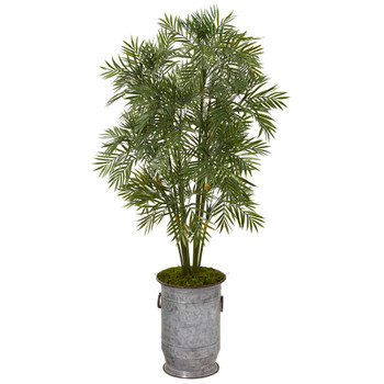 51 Parlor Palm Artificial Tree in Vintage Metal Planter - SKU #T1136