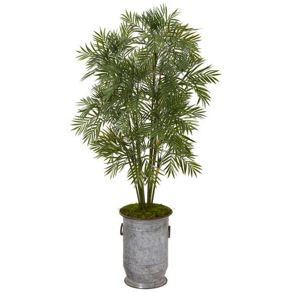51 Parlor Palm Artificial Tree in Vintage Metal Planter - SKU #T1136
