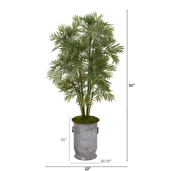 51 Parlor Palm Artificial Tree in Vintage Metal Planter - SKU #T1136 - 1