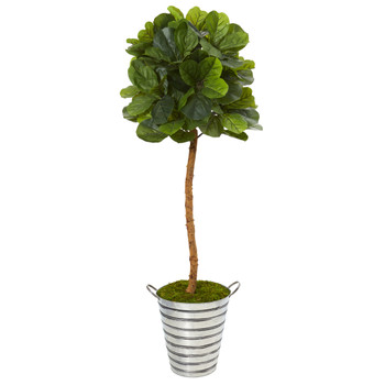 5.5 Fiddle Leaf Artificial Tree in Tin Bucket Real Touch - SKU #T1137