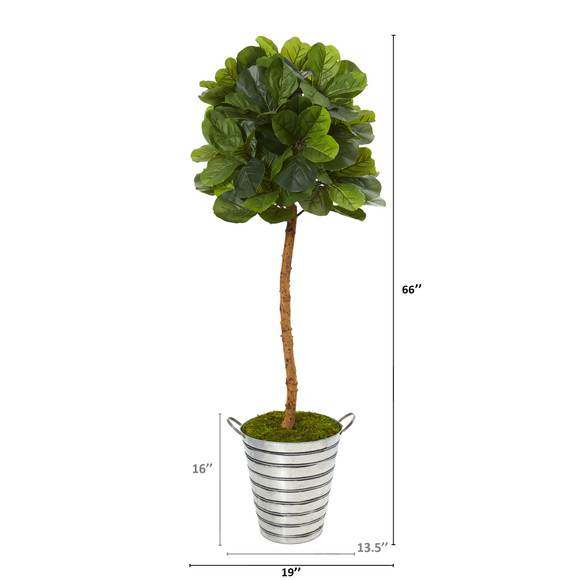 5.5 Fiddle Leaf Artificial Tree in Tin Bucket Real Touch - SKU #T1137 - 1