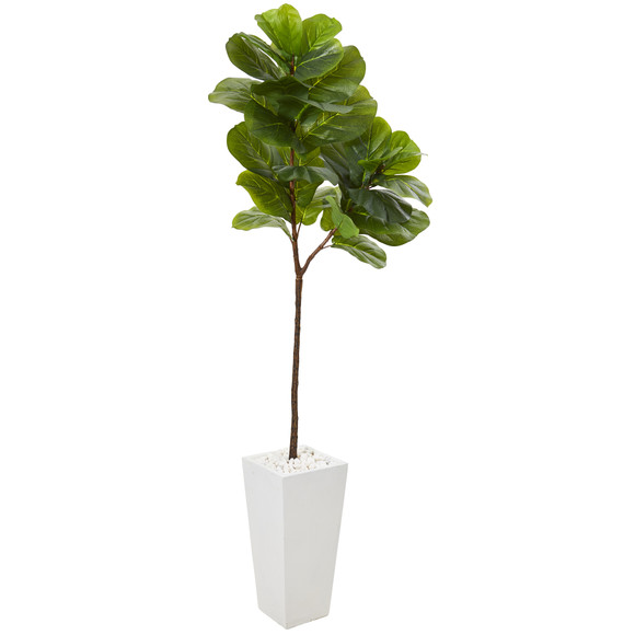 68 Fiddle Leaf Artificial Tree in White Planter Real Touch - SKU #T1138