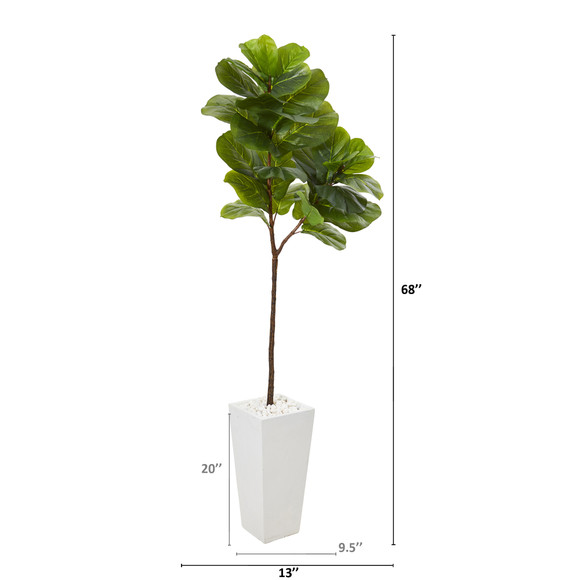 68 Fiddle Leaf Artificial Tree in White Planter Real Touch - SKU #T1138 - 1