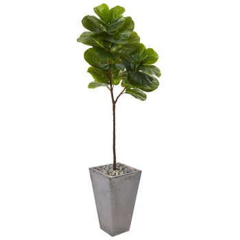 70 Fiddle Leaf Artificial Tree in Cement Planter Real Touch - SKU #T1139