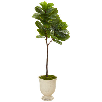 64 Fiddle Leaf Artificial Tree in Decorative Urn Real Touch - SKU #T1140