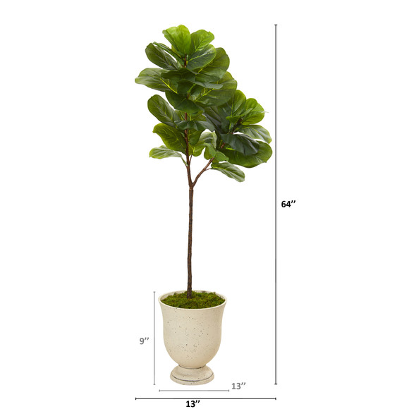 64 Fiddle Leaf Artificial Tree in Decorative Urn Real Touch - SKU #T1140 - 1