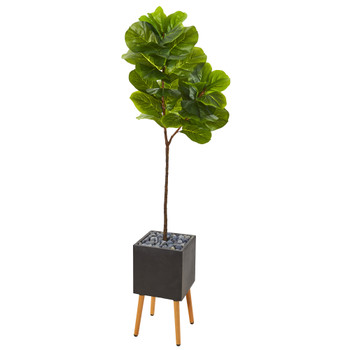 71 Fiddle Leaf Artificial Tree in Black Planter with Stand Real Touch - SKU #T1141