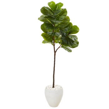 5 Fiddle Leaf Artificial Tree in White Planter Real Touch - SKU #T1142
